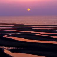 真玉海岸・干潟の夕陽